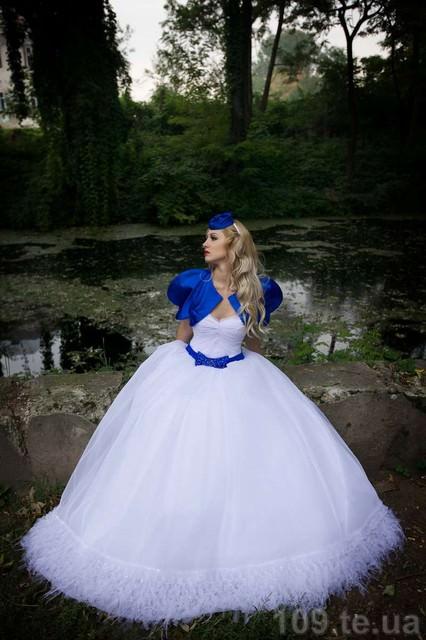 Свадебное платье сине-голубое