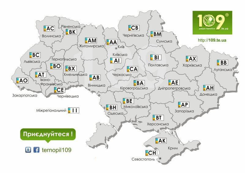 Автомобільні номера по областях України